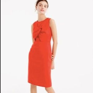 J.Crew Drape Knot Irish Linen Red Dress Sheath